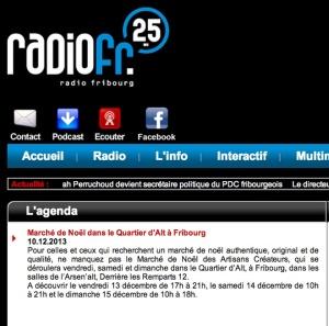 Petite annonce dans l'agenda de Radio Fribourg en 2013